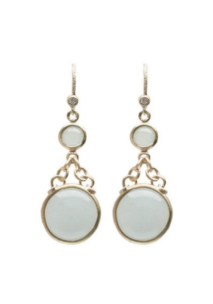 Dominique Cohen Cabochon Aquamarine Retro Earrings