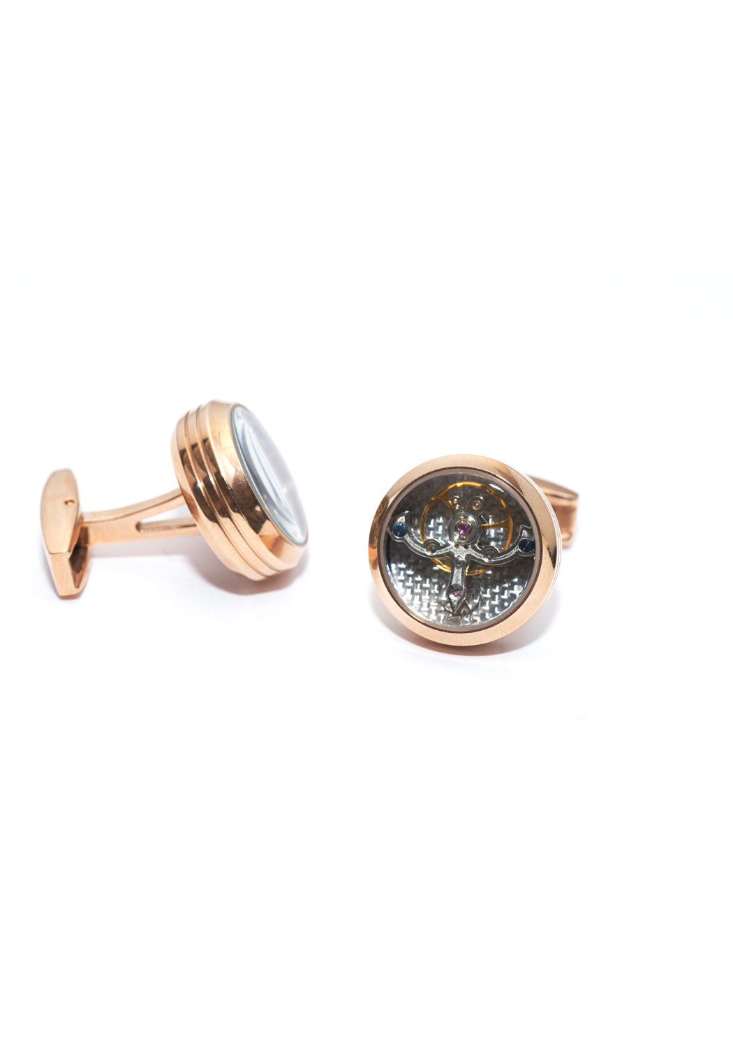 Rose Gold Plated & Silver Tourbillon Cufflinks