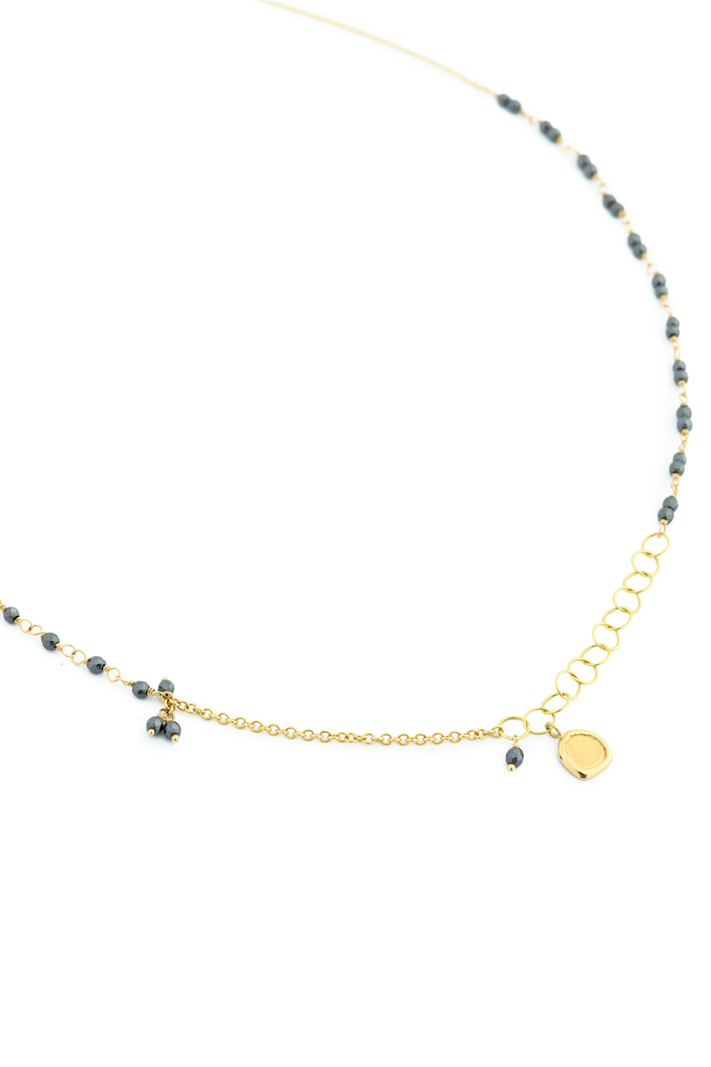 Anne Sportun Gold Tied Hematite Bead Necklace