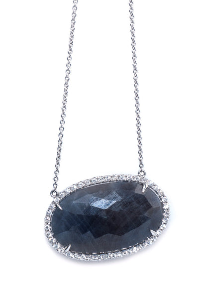 Nava Dee 17.57ct Sapphire with .32ctw Diamond Necklace