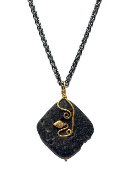 Lika Behar Diamond Snake Lava Stone Necklace