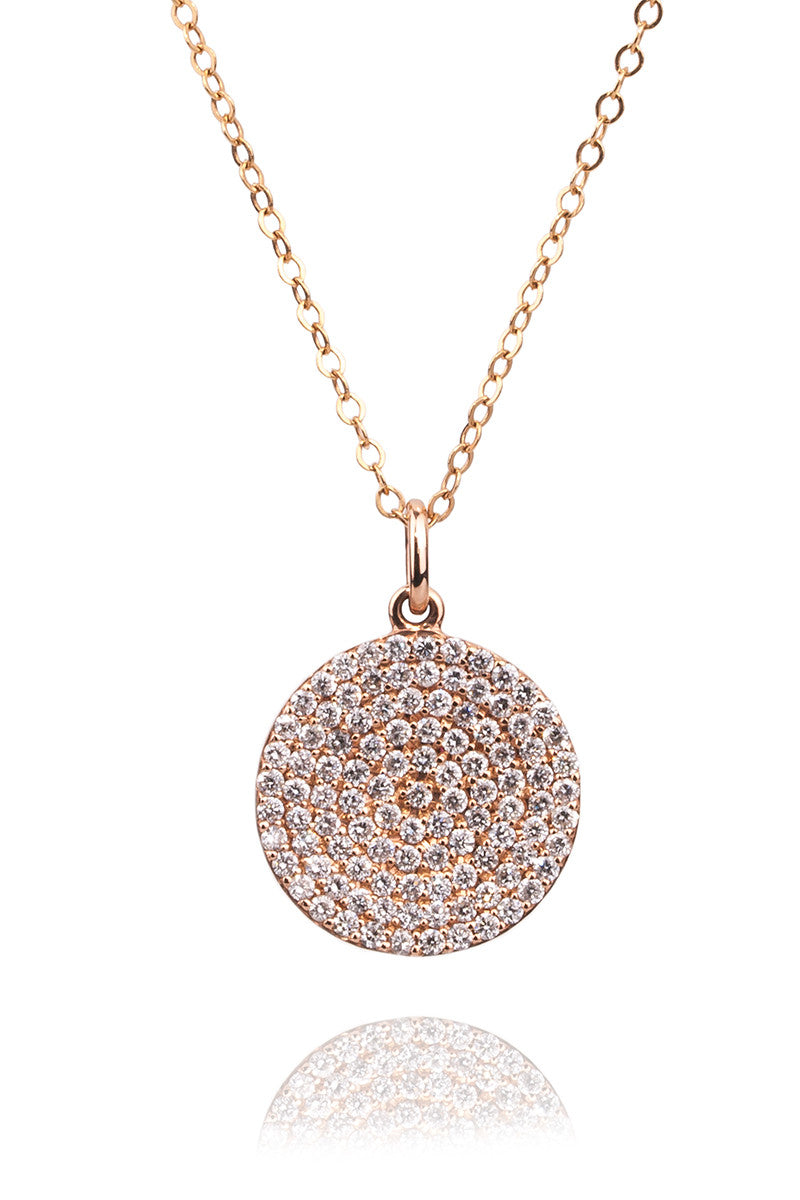 Oster Collection Pave Diamond Disc Pendant Necklace