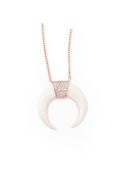 Jacquie Aiche Diamond & Bone Horn Necklace