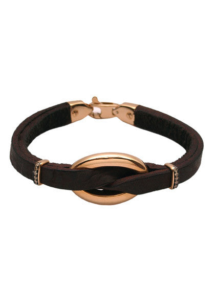 Oromalia Small Oval Link Leather Bracelet