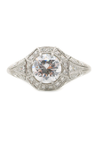 Sebastien Barier Pave Diamond Platinum Semi-Mount Ring