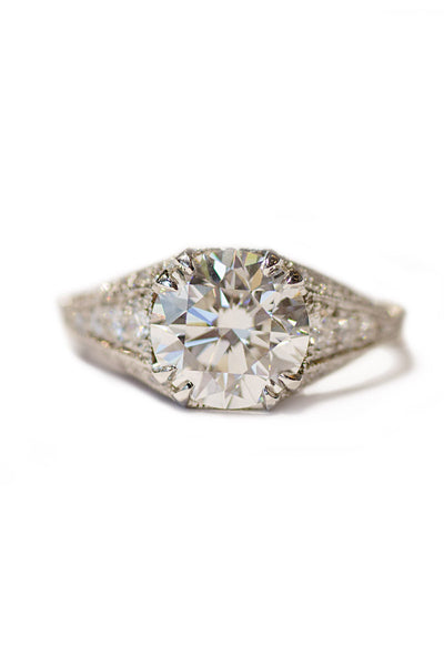 Sebastien Barier Round Diamond & Pave Diamond Ring