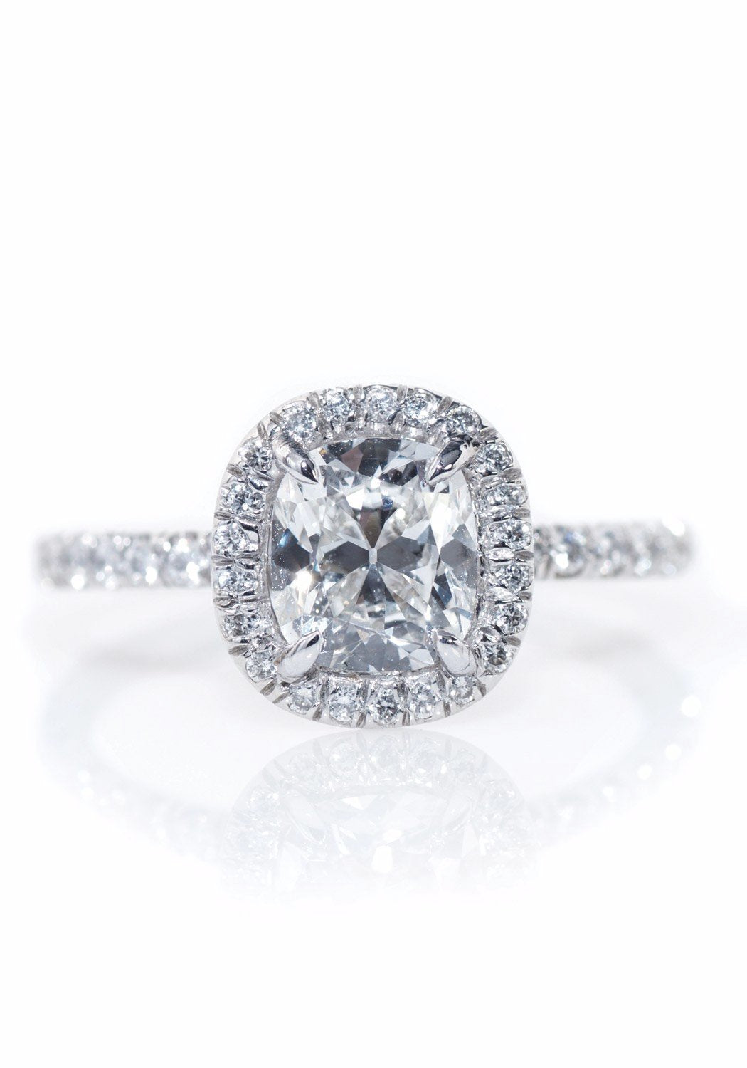 Louis Glick  Cushion Cut Halo Diamond Ring