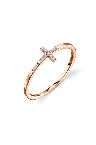 Sydney Evan Rose Gold & Pavé Diamond Bent Cross Ring