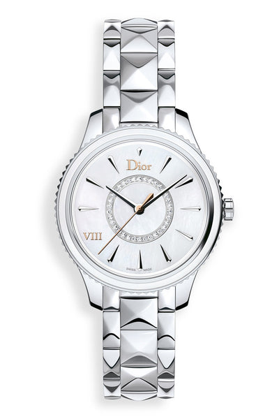 Dior VIII Mother of Pearl & Diamonds on Steel Bracelet 32mm