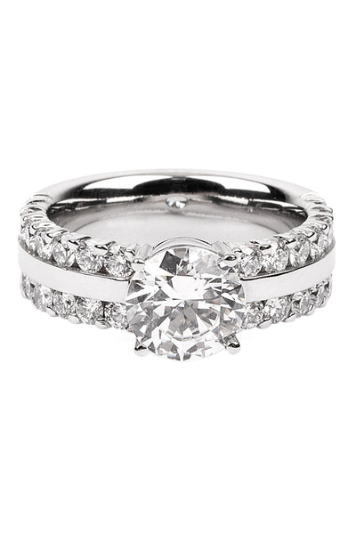 Furrer Jacot Lucienne Diamond 2-Row Platinum Semi-Mount Ring