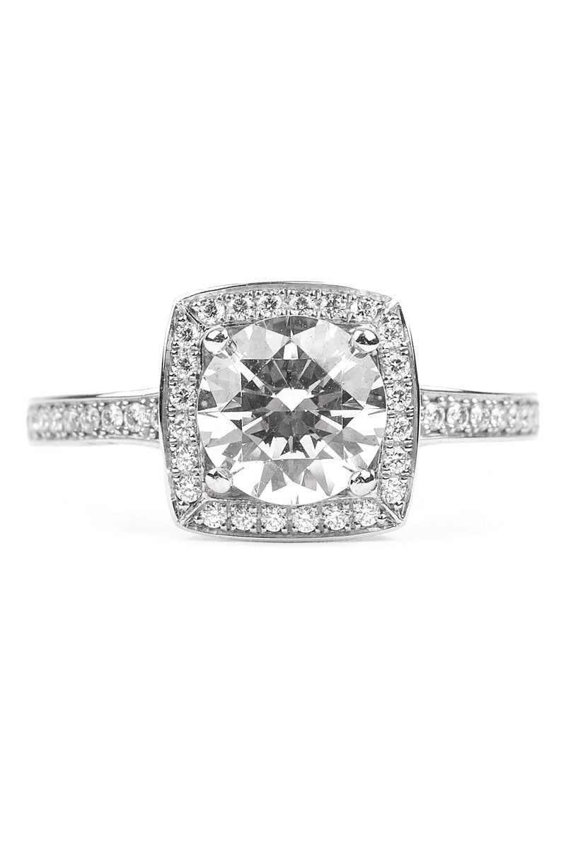 Furrer Jacot Lucienne Diamond Halo Platinum Semi-Mount Ring
