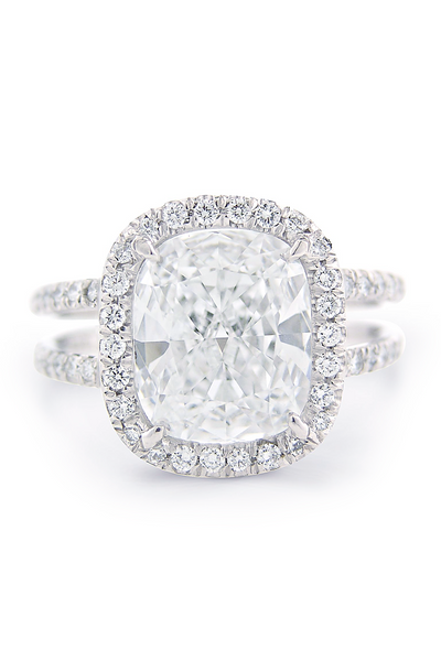 Louis Glick Cushion Cut Diamond Ring