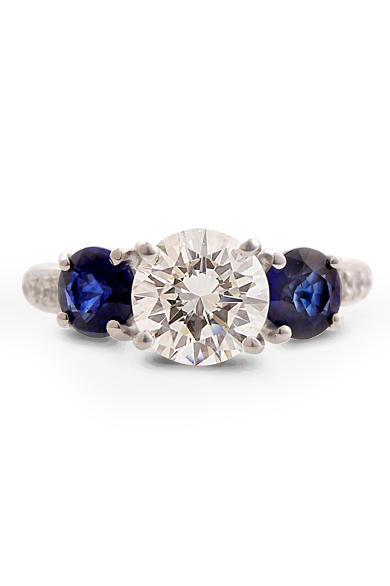 Louis Glick  Sapphire & Diamond Three Stone Ring