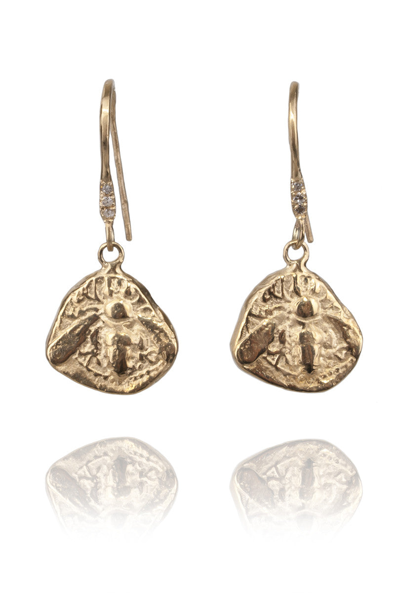 Robin Haley Jewelry Engraved Bee Dangle Earrings