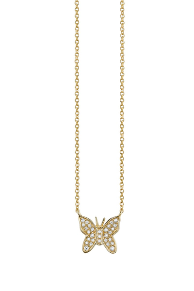 Sydney Evan Mini Yellow Gold Diamond Butterfly Necklace