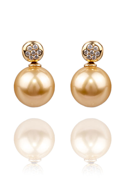 Baggins Golden Pearl & .10ctw Diamond Earrings