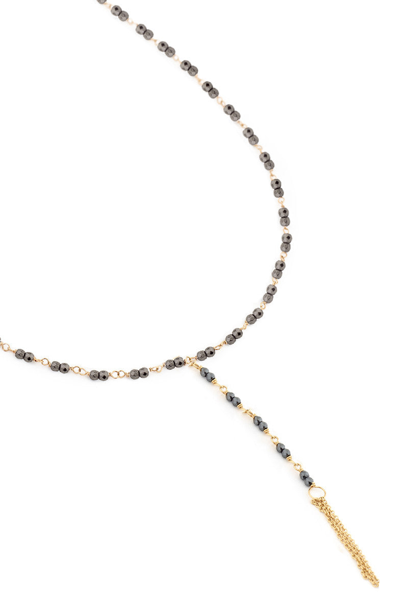 Anne Sportun Hematite Bead Lariat Necklace