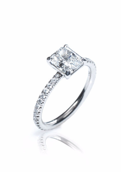 Louis Glick  Starburst Diamond Solitaire Ring With Diamond Band