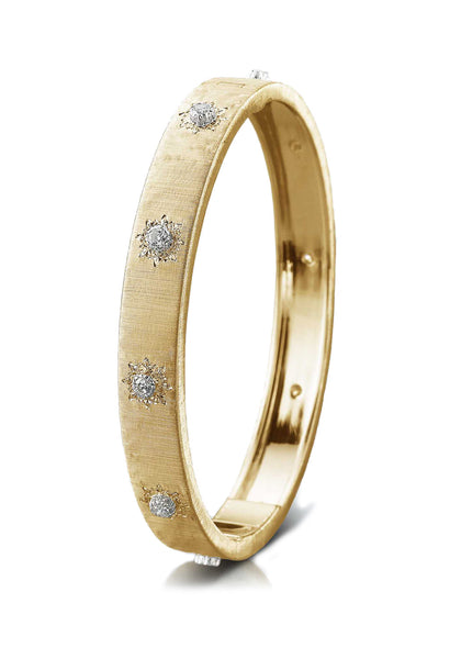 Buccellati Macri Classica Yellow Gold 10 Diamond Bangle