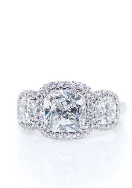 Rahaminov 3 Stone Cushion Cut Diamond Ring