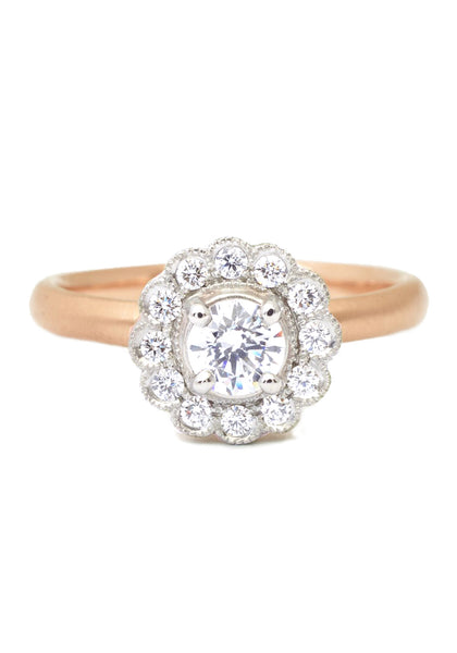 Anne Sportun Ava Rose Gold Diamond Halo Ring