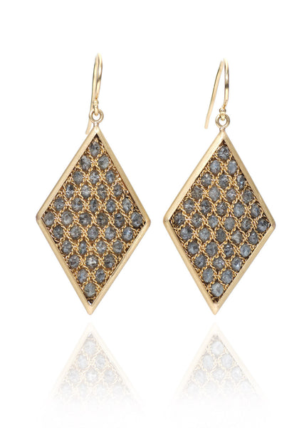 Amali Textile Grey Diamond Earrings