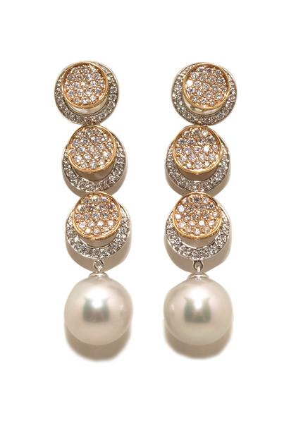Pearl & 1.46cts Diamond Drop Earrings