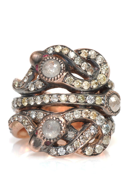 Sylva & Cie Diamond Snake Ring