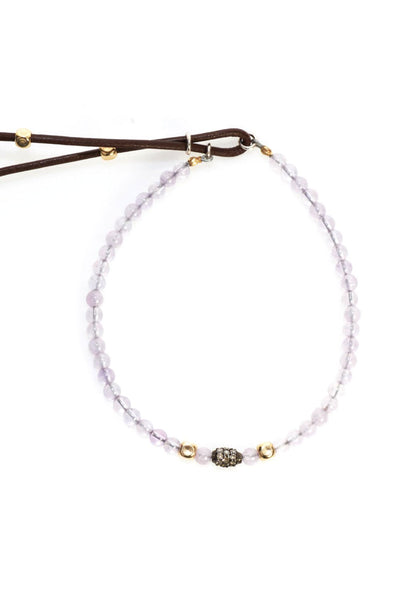 Catherine Michiels Amethyst & Diamond Rice Bead Bracelet