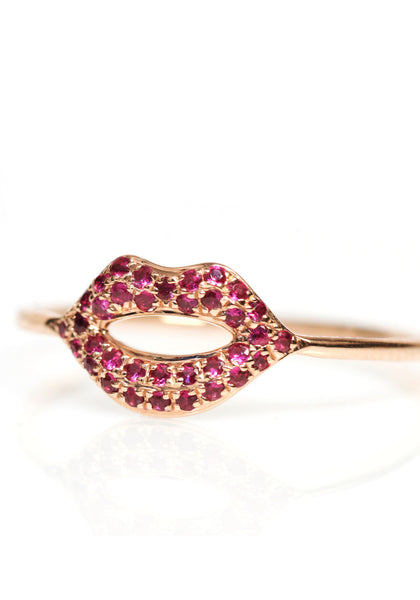 Sydney Evan Rose Gold Ruby Lip Ring