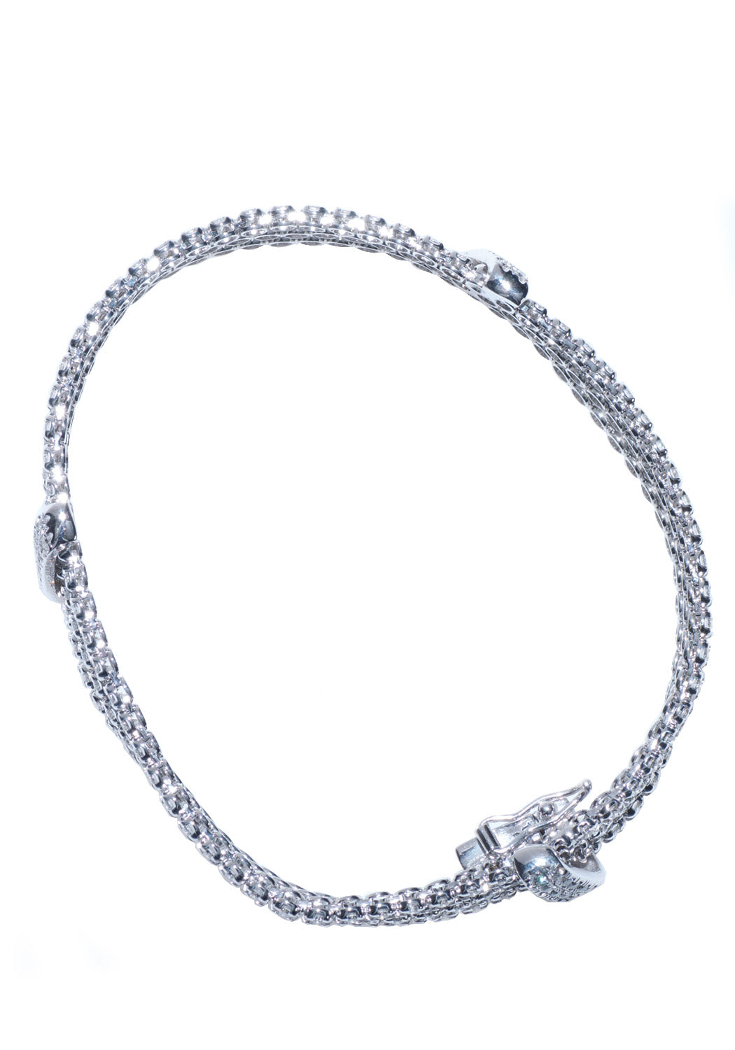 A Link White Gold Diamond Pave Bracelet