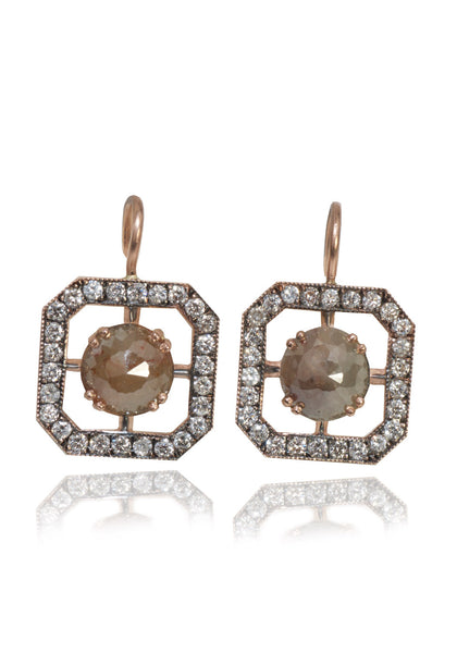 Sylva & Cie Window Earrings With Raw Diamonds