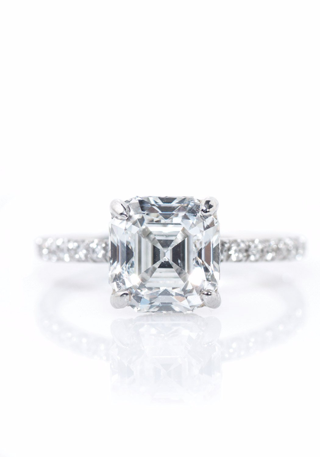 Louis Glick  Asscher Cut Diamond Ring