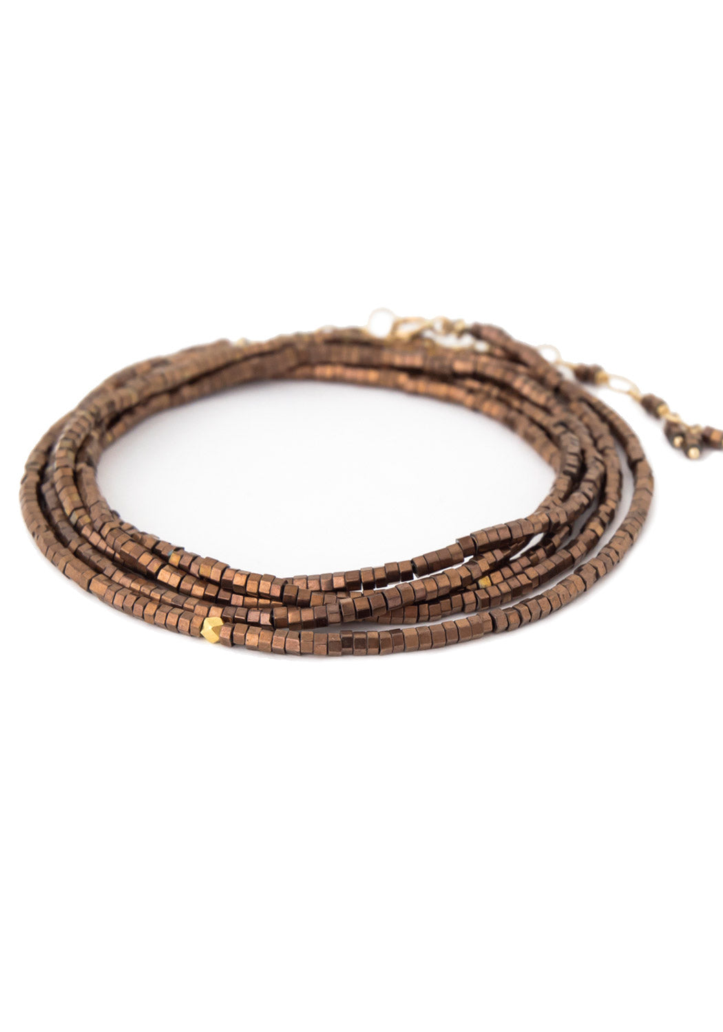 "Anne Sportun 34"" Square Bead Copper Pyrite Wrap Bracelet"