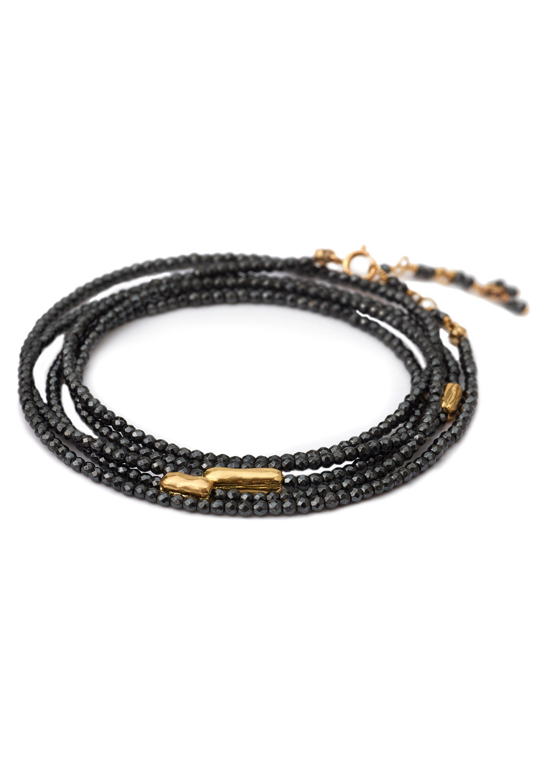 "Anne Sportun 34"" Long 3 Gold Accent Black Spinel River Wrap Bracelet"