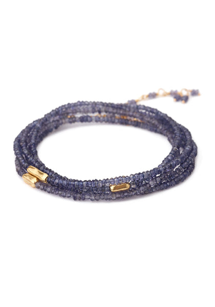 "Anne Sportun 34"" Long 3 Gold Accent Lolite River Wrap Bracelet"