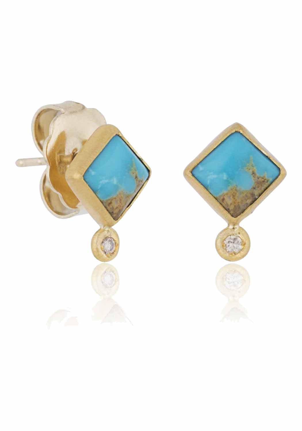 Lika Behar My World Gold & Turquoise Stud Earrings
