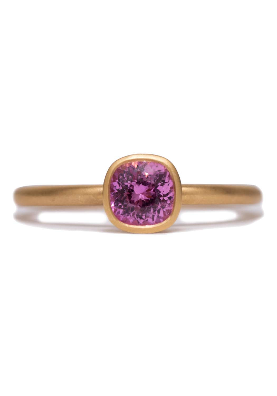 Kimberly Collins Round Pink Sapphire Yellow Gold Ring