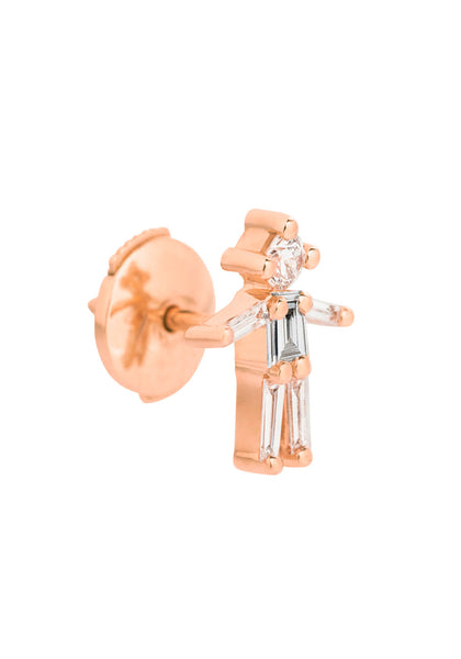 Little Ones 18K Pink Gold Boy Diamond Stud