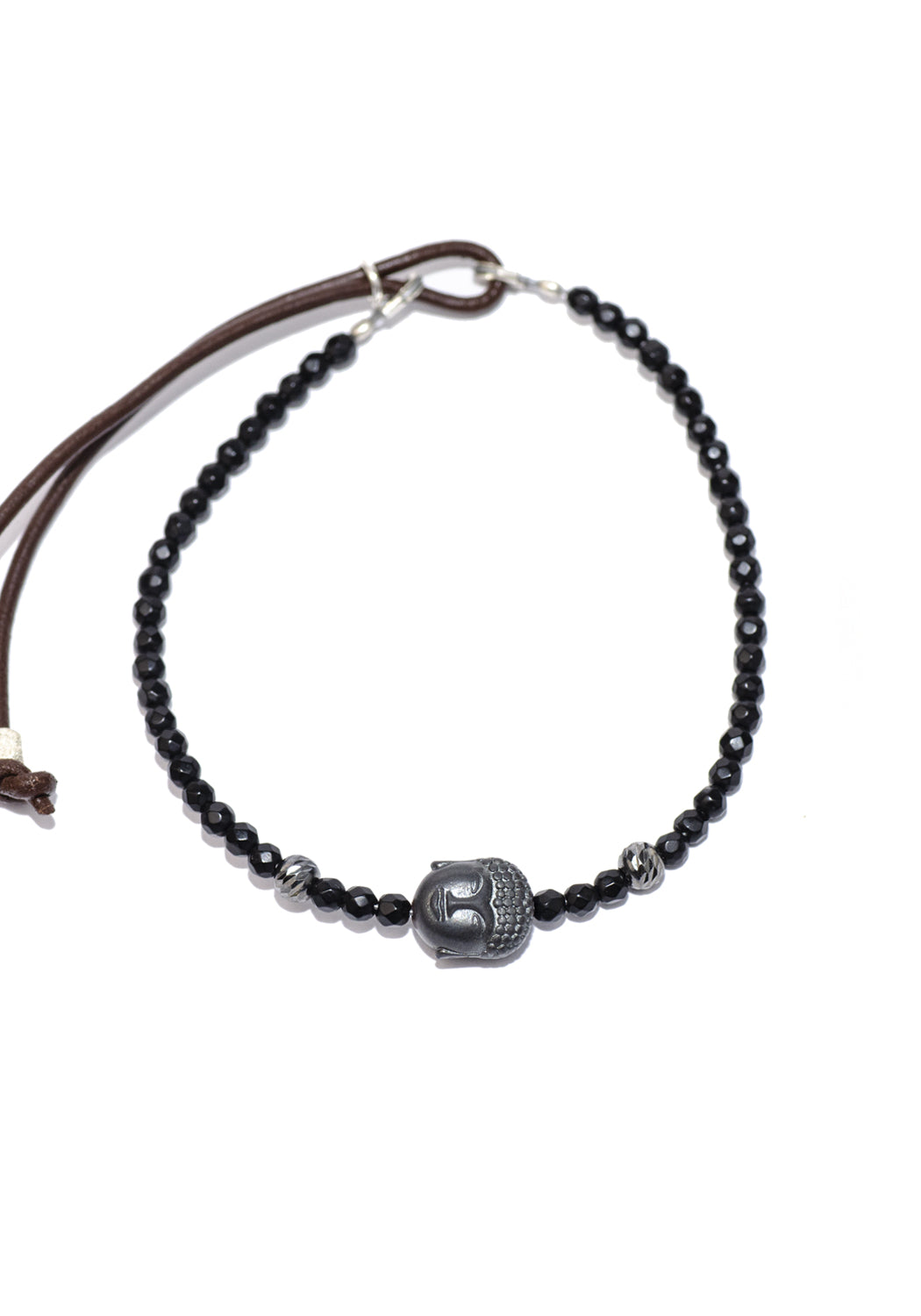 Catherine Michiels Pyrite Buddha Head & Black Agate Bead Bracelet