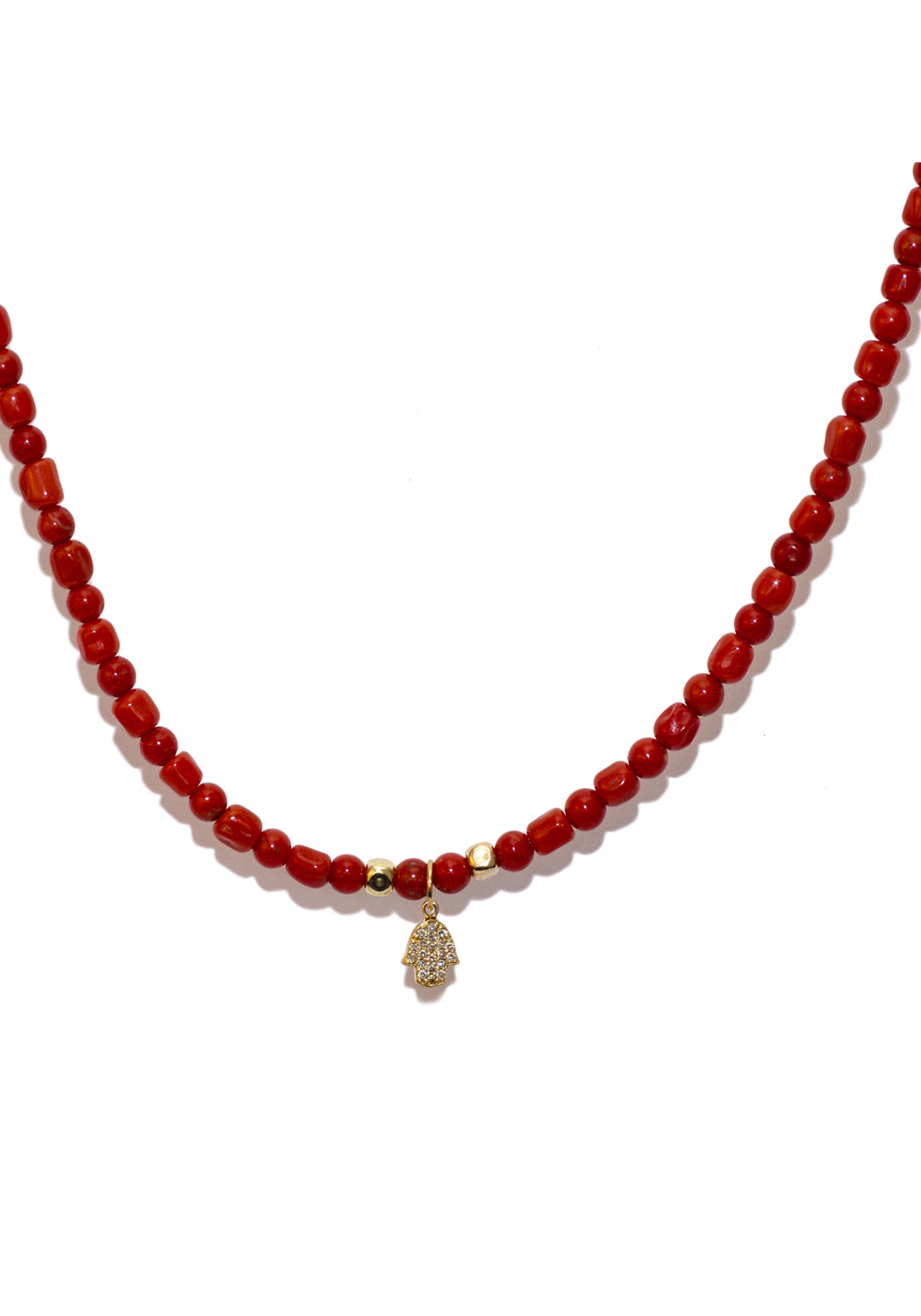 Catherine Michiels Diamond Hamsa Hand & Italian Coral Bead Necklace