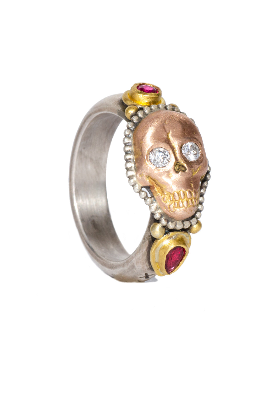 Melinda Risk 22KRG Skull Stack Ring