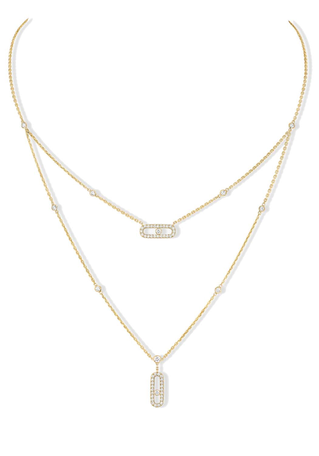 Messika Move Uno 2 Rows Diamond Pavé Yellow Gold Necklace