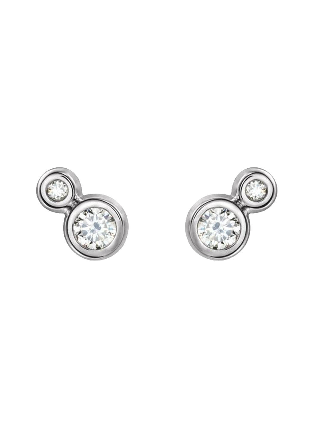 14K White Gold Double Diamond Stud Earrings