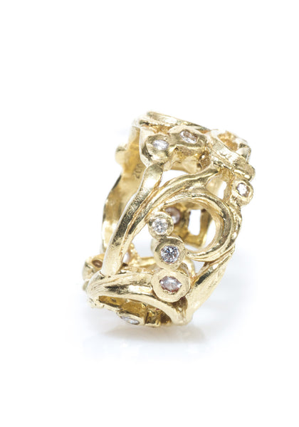 Dominique Cohen Floral & Diamond Band Ring