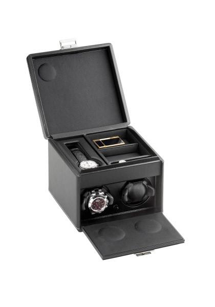 Scatola Black Leather Two Rotor Winder & Storage Box ON SALE AT $3150