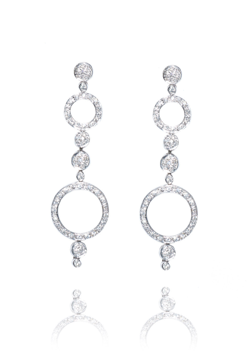 Antonini Alaskan Circle White Gold & Diamond Dangle Earrings