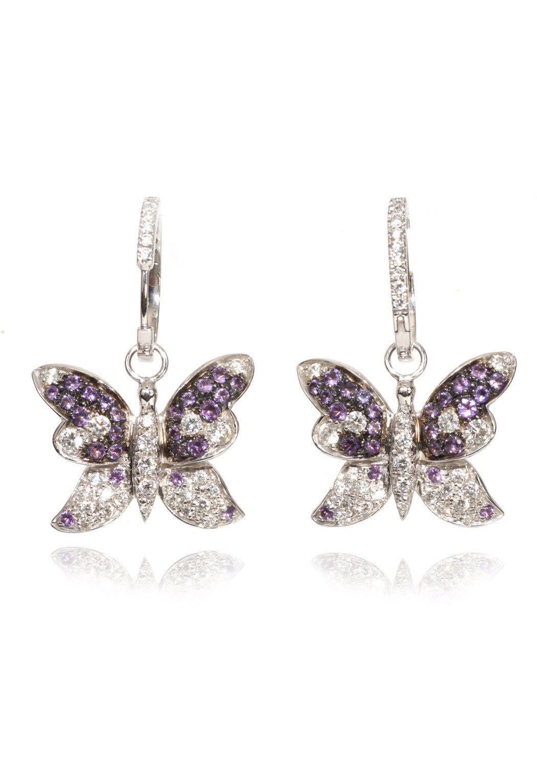 Adolfo Courrier Amethyst & Diamond Butterfly Hoop Earrings