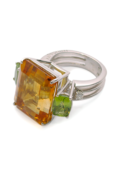 Antonini Antartica Big Citrine and Peridot, Diamond Ring