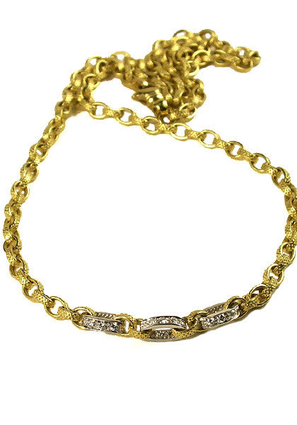 "Marchisio 18"" Yellow Gold & Diamond Link Chain"